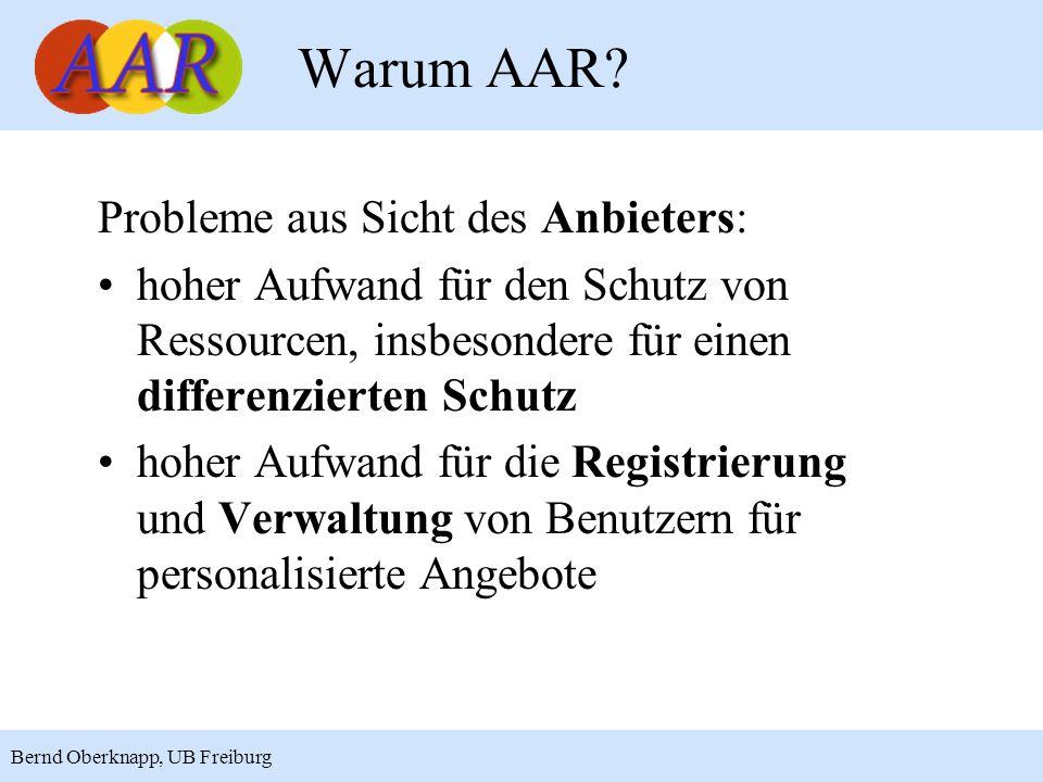 Warum AAR Probleme aus Sicht des Anbieters: