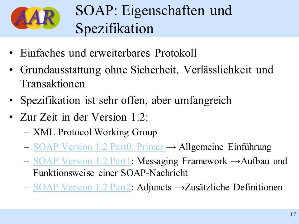 SOAP: Eigenschaften und Spezifikation