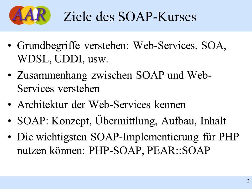 Ziele des SOAP-Kurses Grundbegriffe verstehen: Web-Services, SOA, WDSL, UDDI, usw. Zusammenhang zwischen SOAP und Web-Services verstehen.