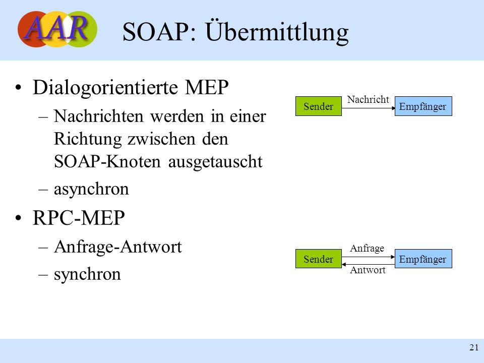 SOAP: Übermittlung Dialogorientierte MEP RPC-MEP