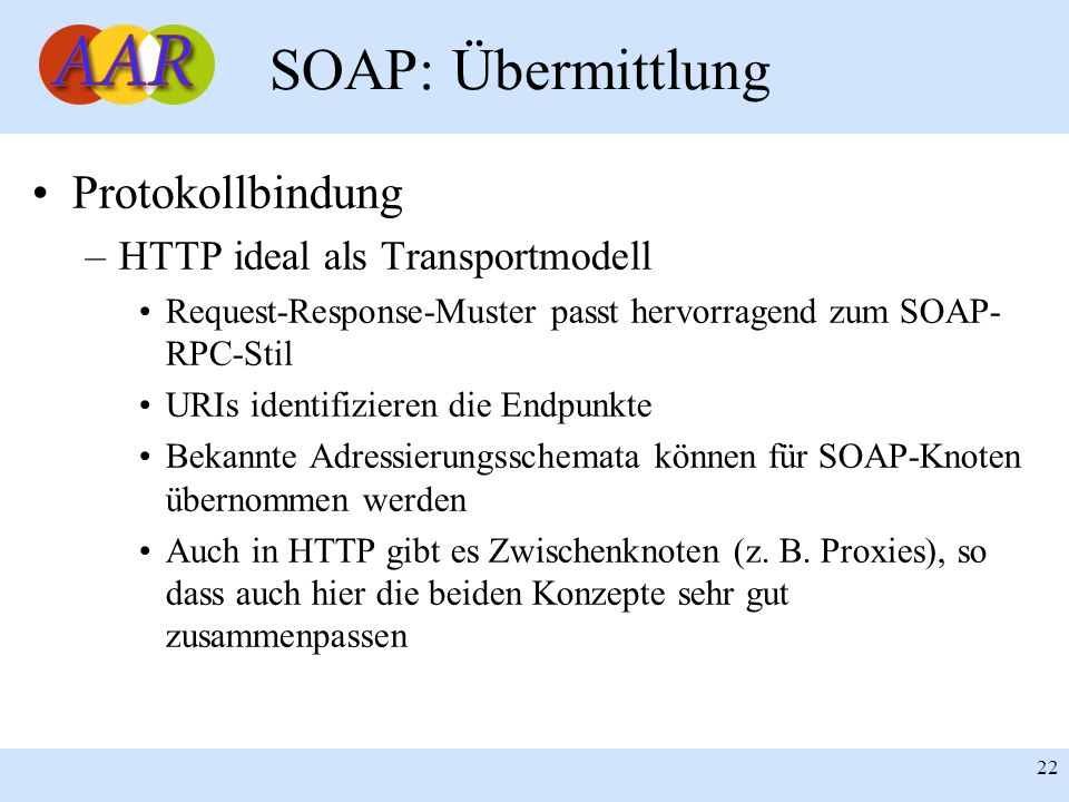 SOAP: Übermittlung Protokollbindung HTTP ideal als Transportmodell