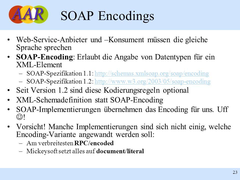 SOAP Encodings Web-Service-Anbieter und –Konsument müssen die gleiche Sprache sprechen.
