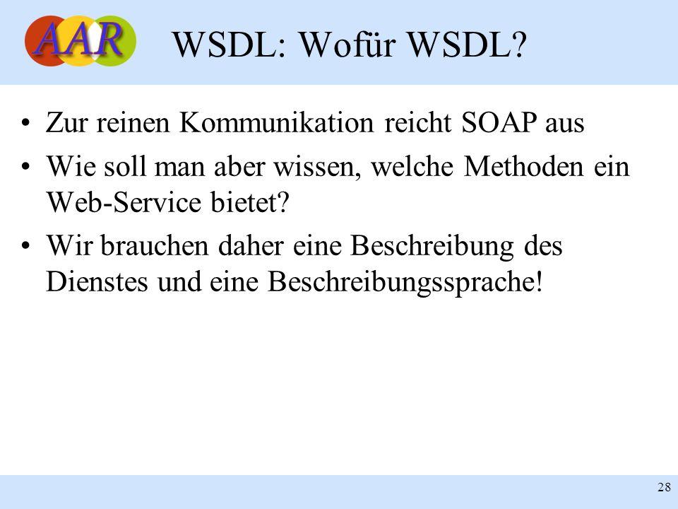 WSDL: Wofür WSDL Zur reinen Kommunikation reicht SOAP aus