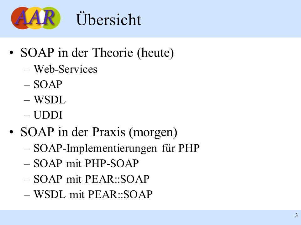 Übersicht SOAP in der Theorie (heute) SOAP in der Praxis (morgen)