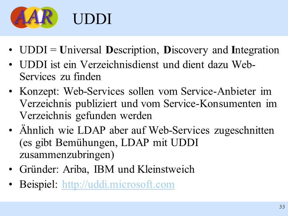 UDDI UDDI = Universal Description, Discovery and Integration