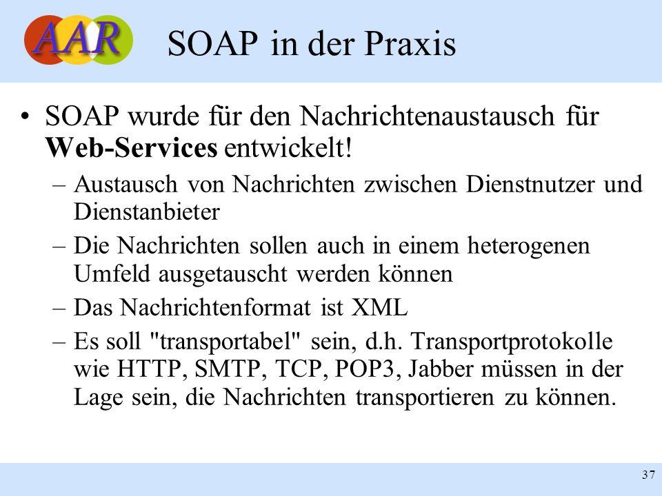 SOAP in der Praxis SOAP wurde für den Nachrichtenaustausch für Web-Services entwickelt!
