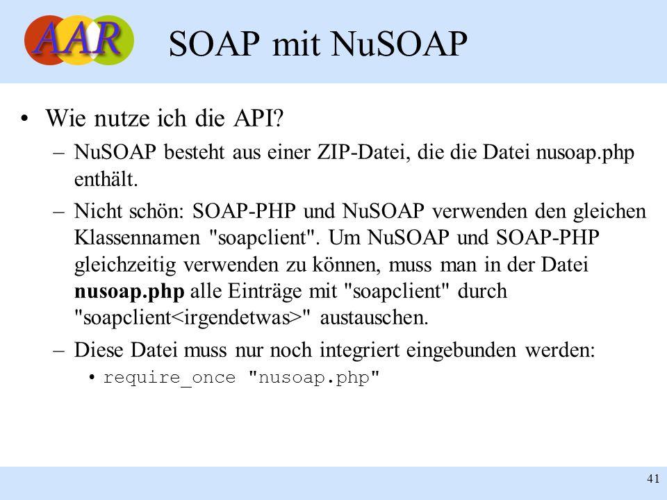 SOAP mit NuSOAP Wie nutze ich die API