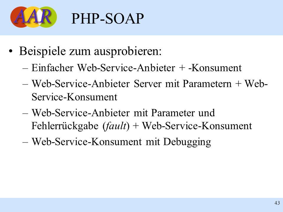 PHP-SOAP Beispiele zum ausprobieren: