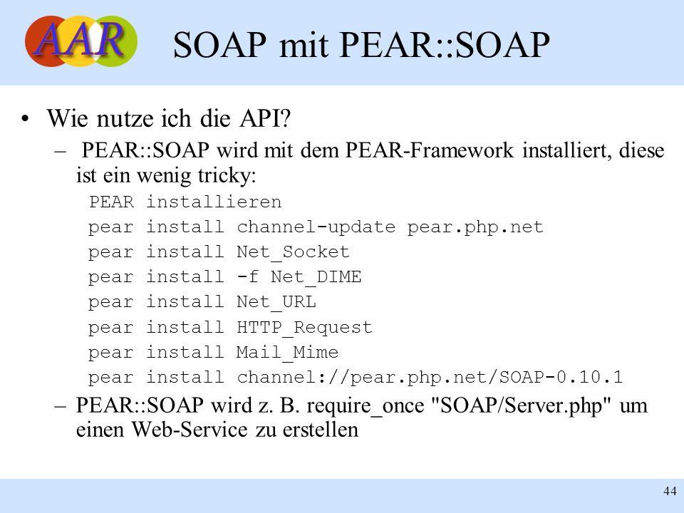 SOAP mit PEAR::SOAP Wie nutze ich die API