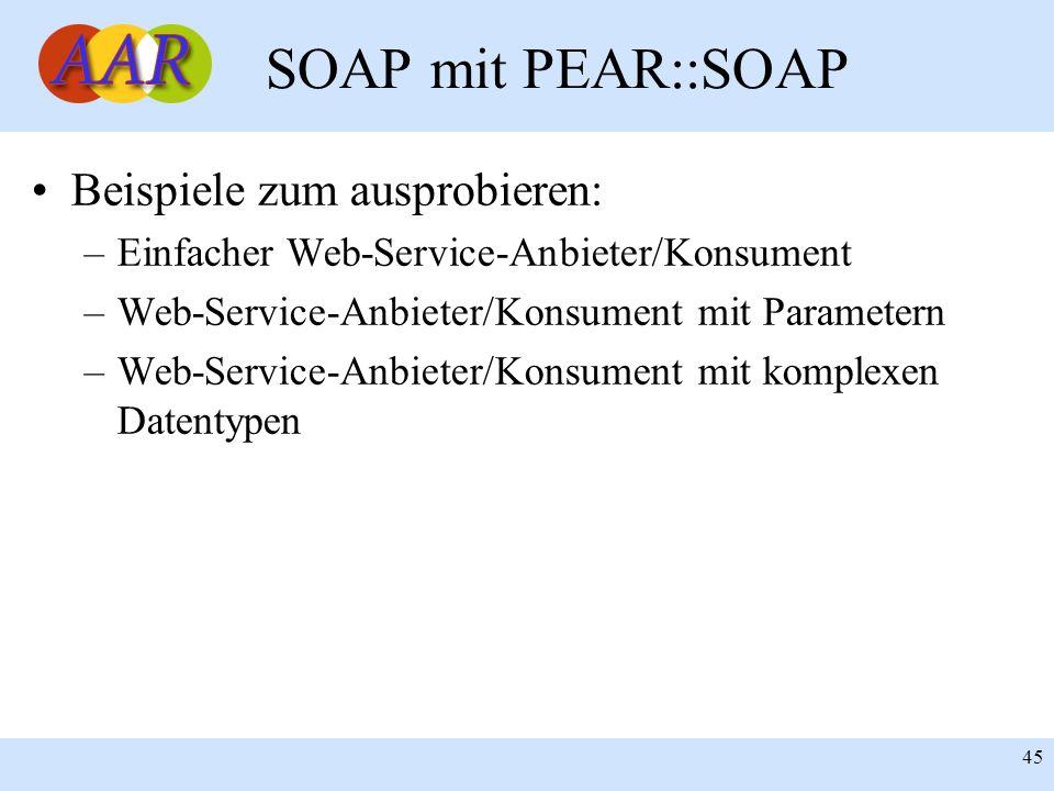 SOAP mit PEAR::SOAP Beispiele zum ausprobieren: