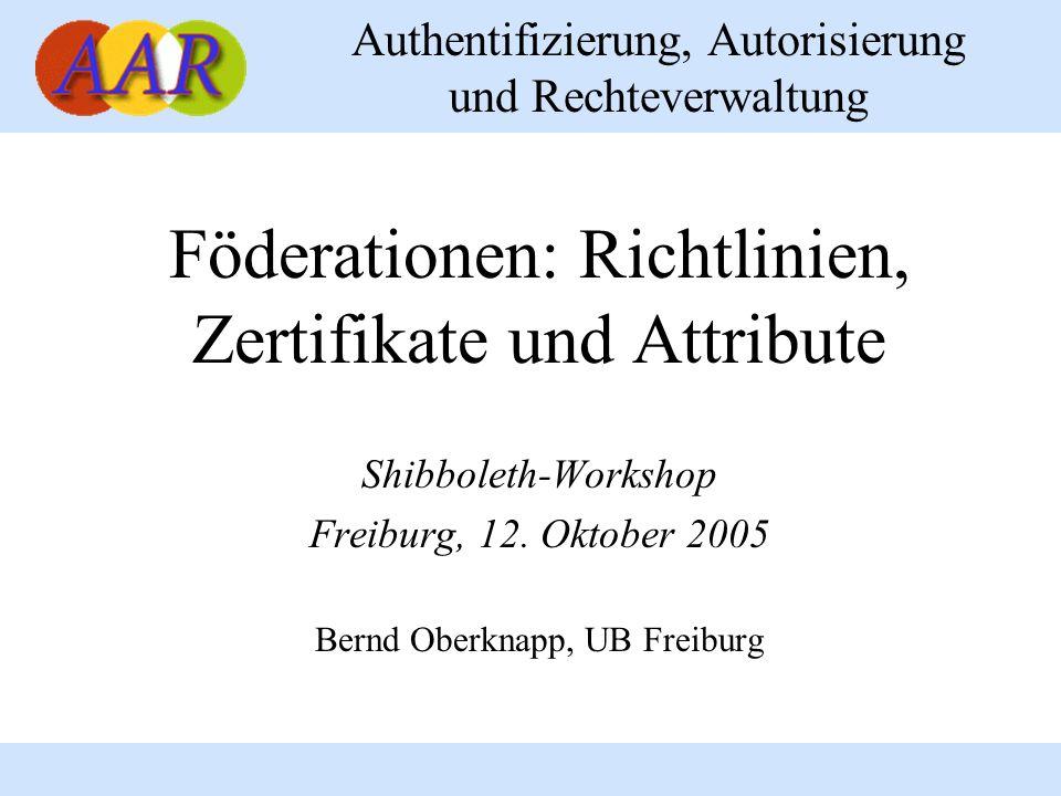 Föderationen: Richtlinien, Zertifikate und Attribute