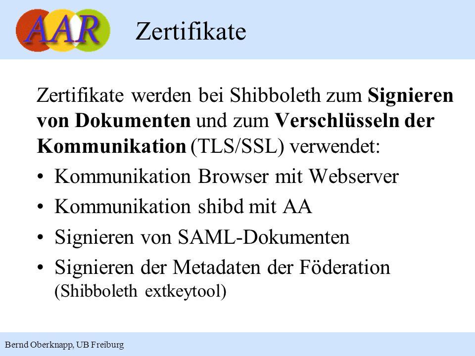 Zertifikate Zertifikate werden bei Shibboleth zum Signieren