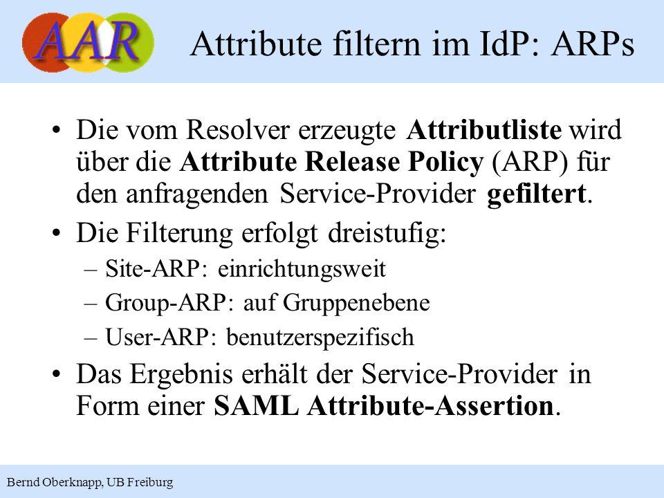 Attribute filtern im IdP: ARPs