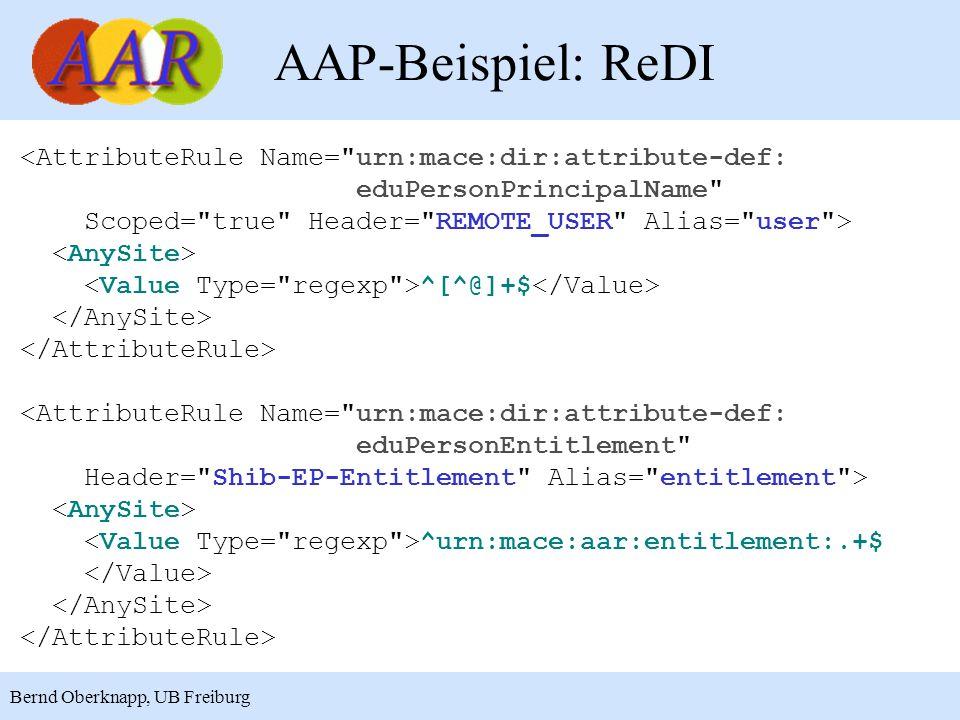AAP-Beispiel: ReDI <AttributeRule Name= urn:mace:dir:attribute-def: