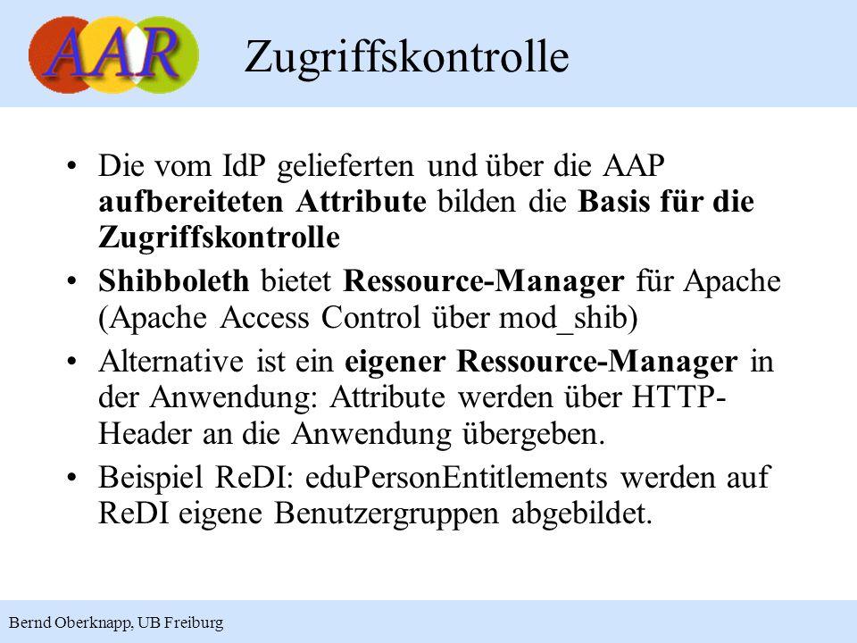 Zugriffskontrolle Die vom IdP gelieferten und über die AAP aufbereiteten Attribute bilden die Basis für die Zugriffskontrolle.