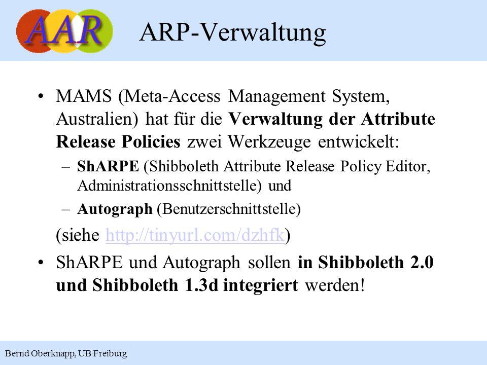 ARP-Verwaltung MAMS (Meta-Access Management System, Australien) hat für die Verwaltung der Attribute Release Policies zwei Werkzeuge entwickelt: