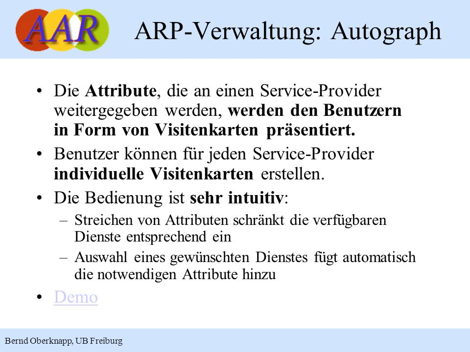 ARP-Verwaltung: Autograph