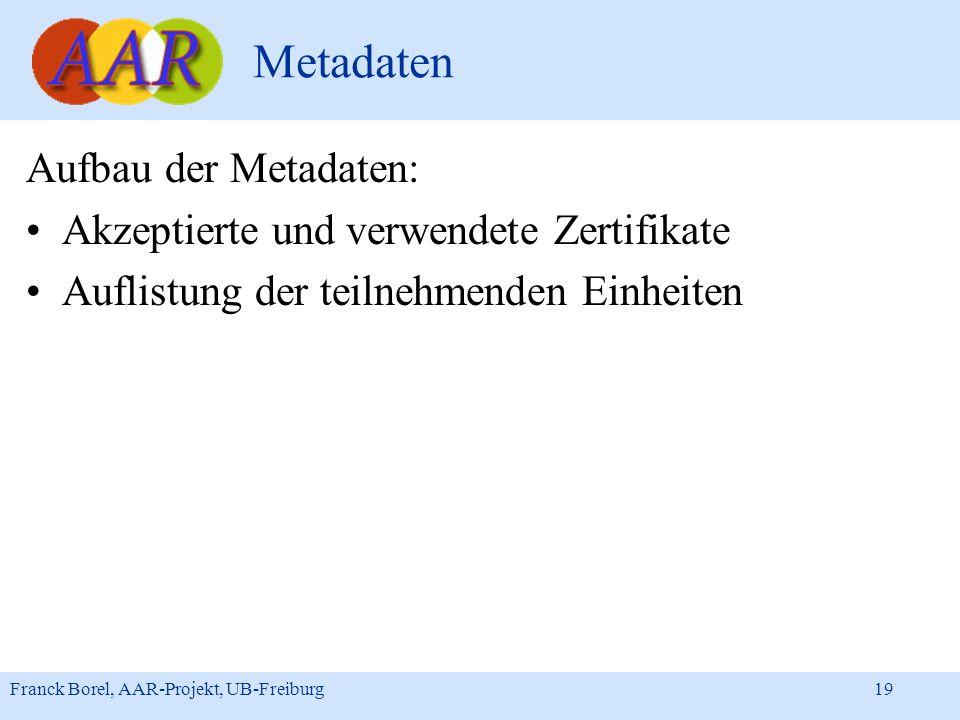 Metadaten Aufbau der Metadaten: Akzeptierte und verwendete Zertifikate