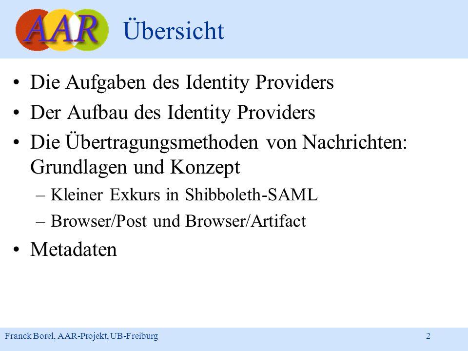 Übersicht Die Aufgaben des Identity Providers