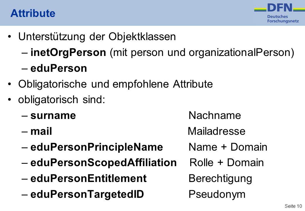 Attribute Unterstützung der Objektklassen. inetOrgPerson (mit person und organizationalPerson) eduPerson.