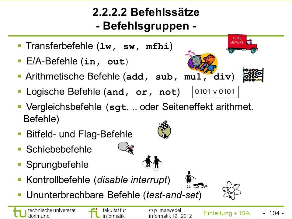 2.2.2.2 Befehlssätze - Befehlsgruppen -