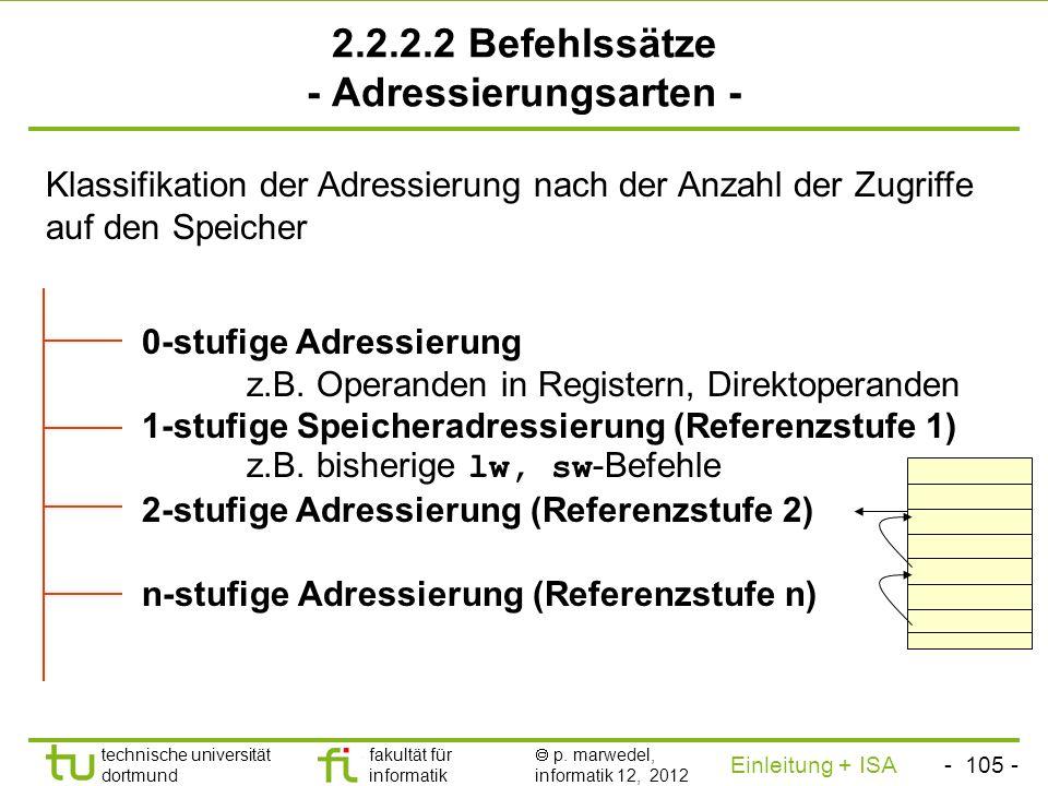 2.2.2.2 Befehlssätze - Adressierungsarten -