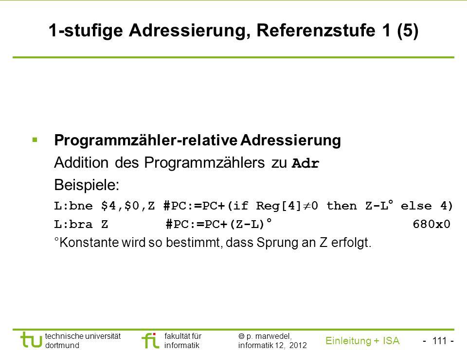 1-stufige Adressierung, Referenzstufe 1 (5)