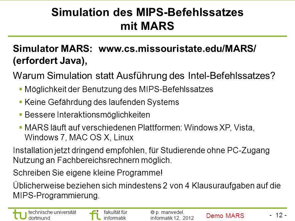 Simulation des MIPS-Befehlssatzes mit MARS