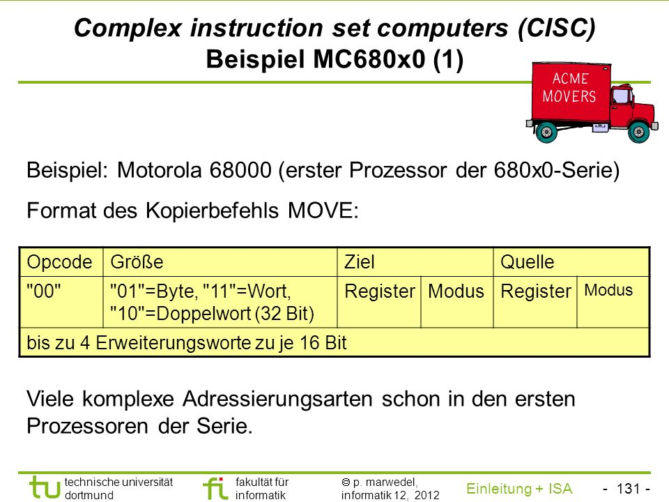 Complex instruction set computers (CISC) Beispiel MC680x0 (1)