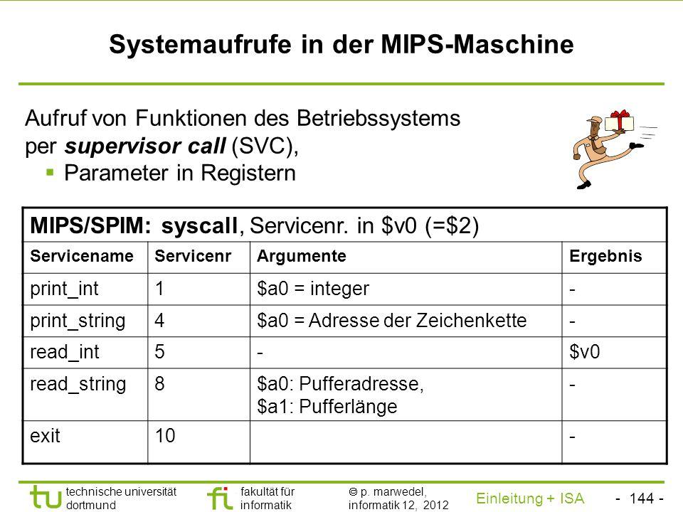 Systemaufrufe in der MIPS-Maschine