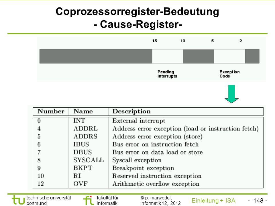 Coprozessorregister-Bedeutung - Cause-Register-