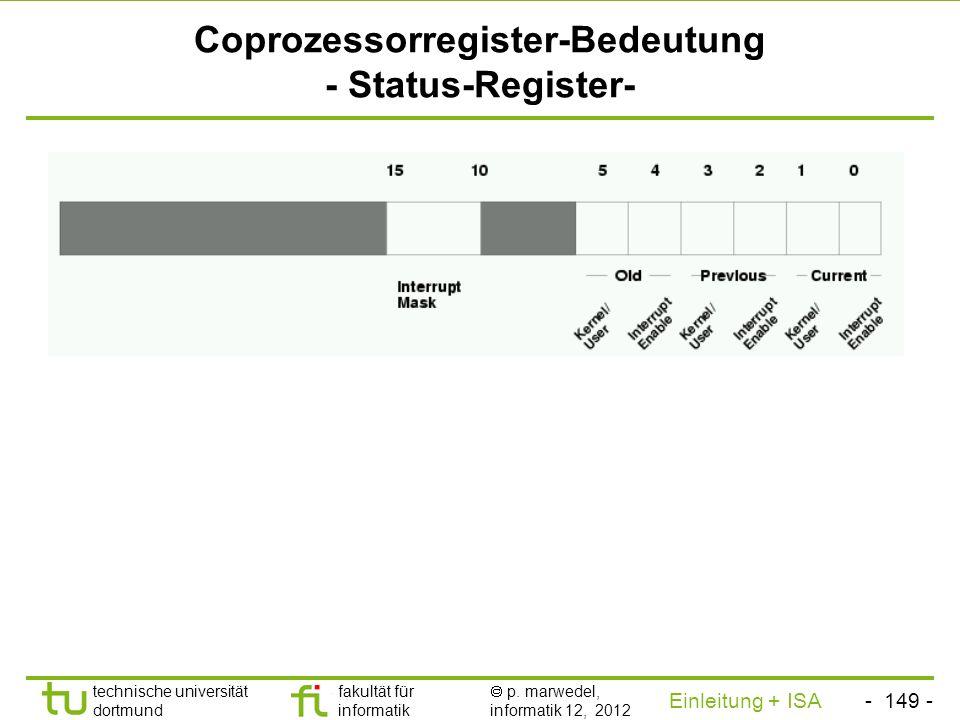 Coprozessorregister-Bedeutung - Status-Register-