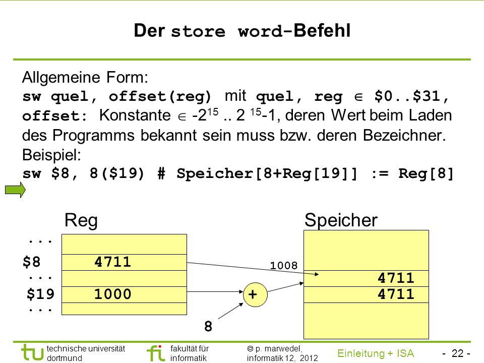 Der store word-Befehl Reg Speicher
