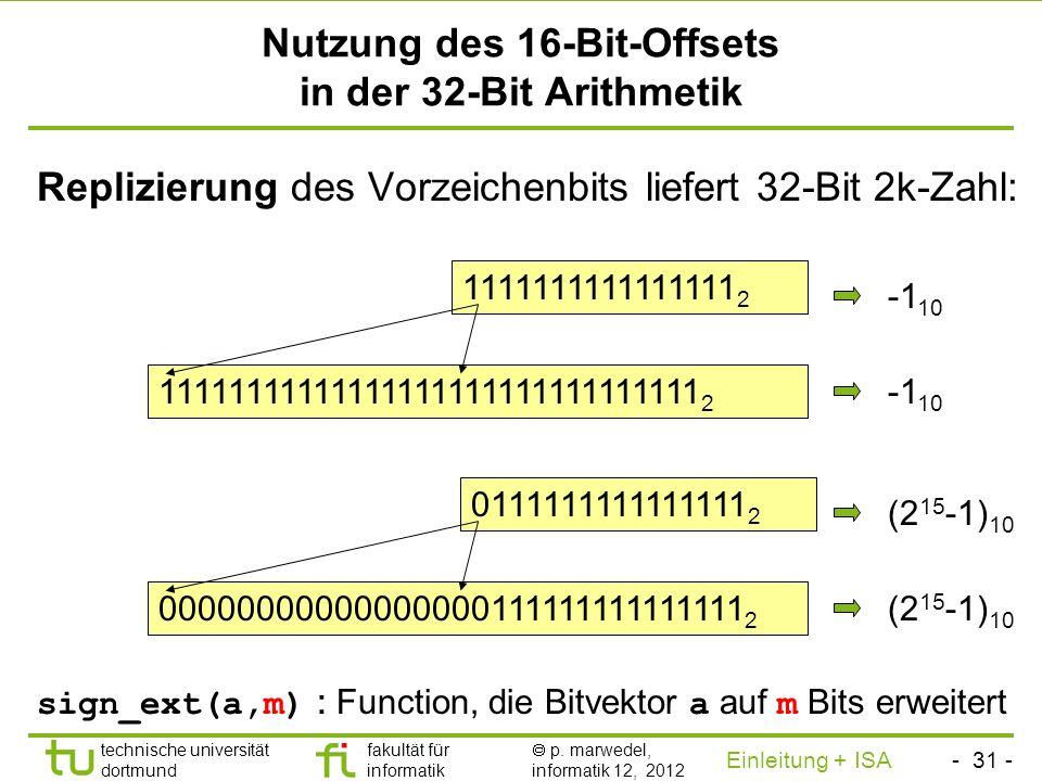 Nutzung des 16-Bit-Offsets in der 32-Bit Arithmetik