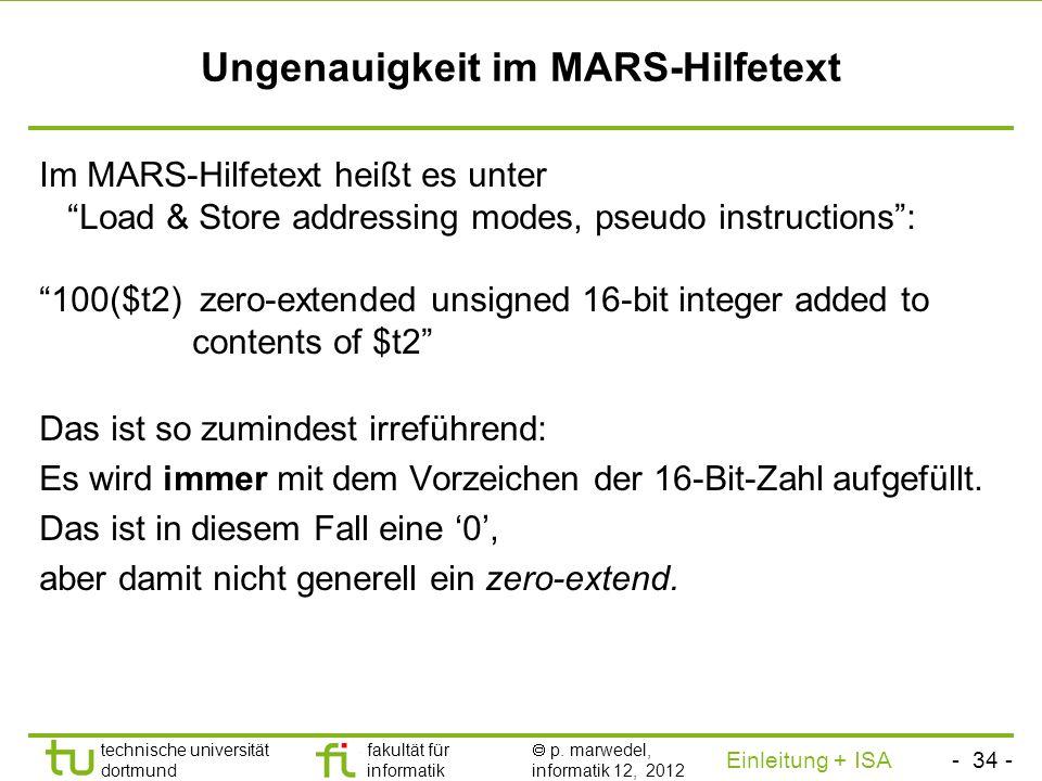 Ungenauigkeit im MARS-Hilfetext