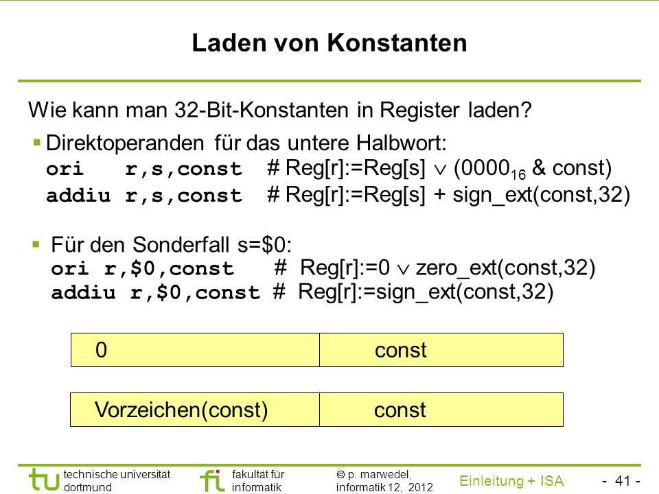 Laden von Konstanten Wie kann man 32-Bit-Konstanten in Register laden