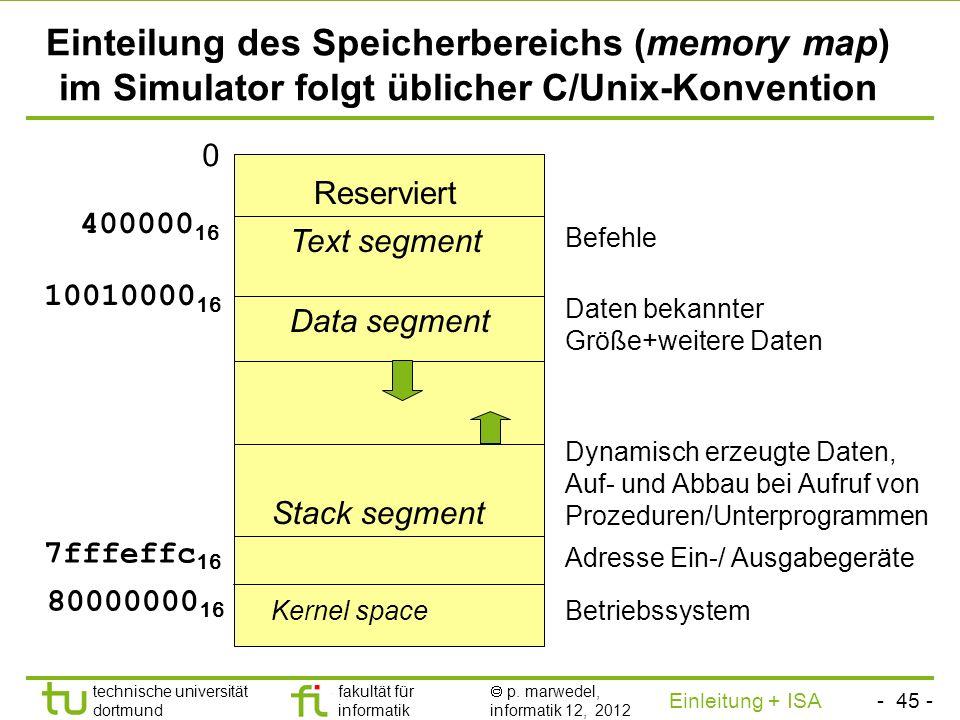 Einteilung des Speicherbereichs (memory map) im Simulator folgt üblicher C/Unix-Konvention