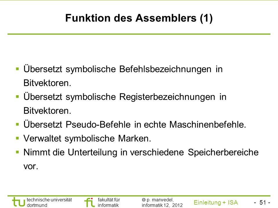 Funktion des Assemblers (1)