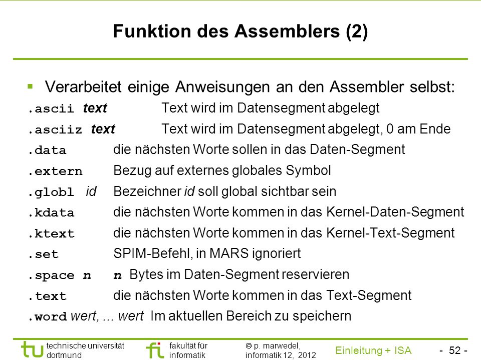 Funktion des Assemblers (2)