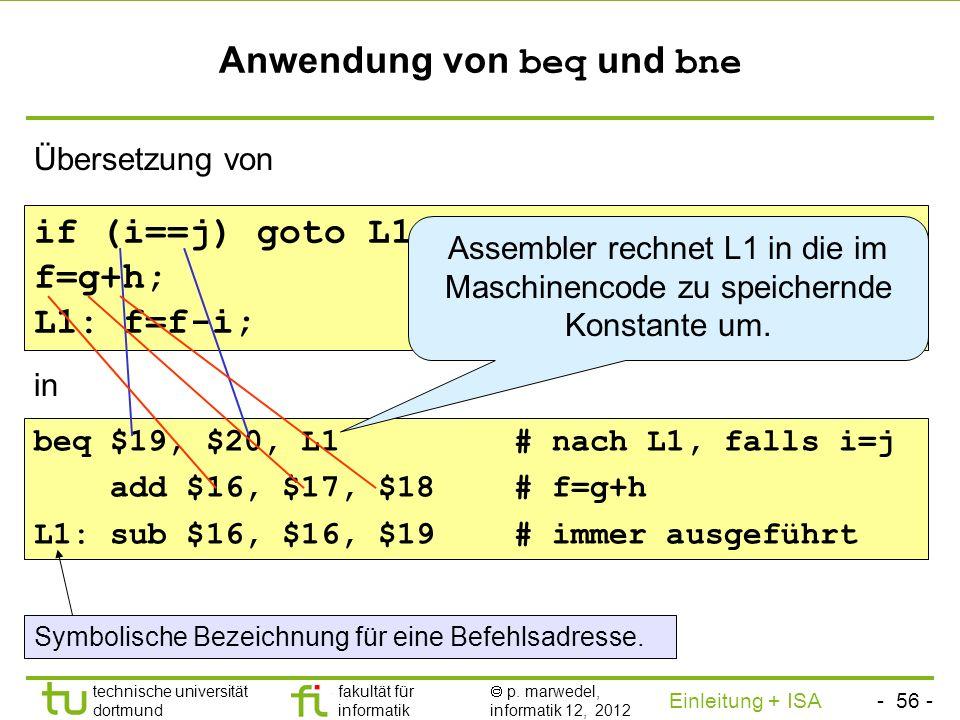 Anwendung von beq und bne