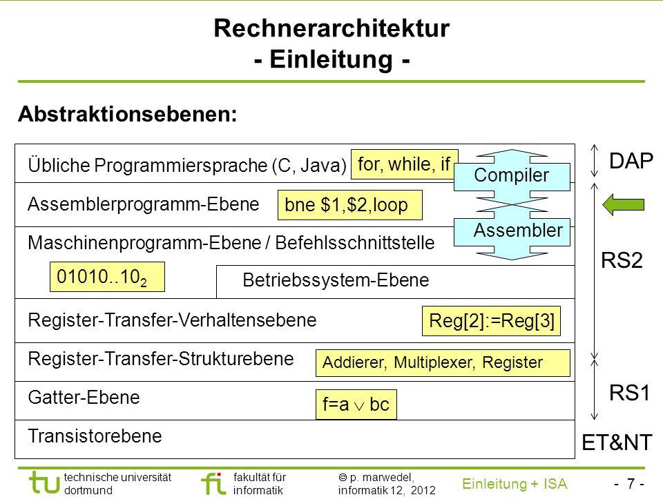Rechnerarchitektur - Einleitung -