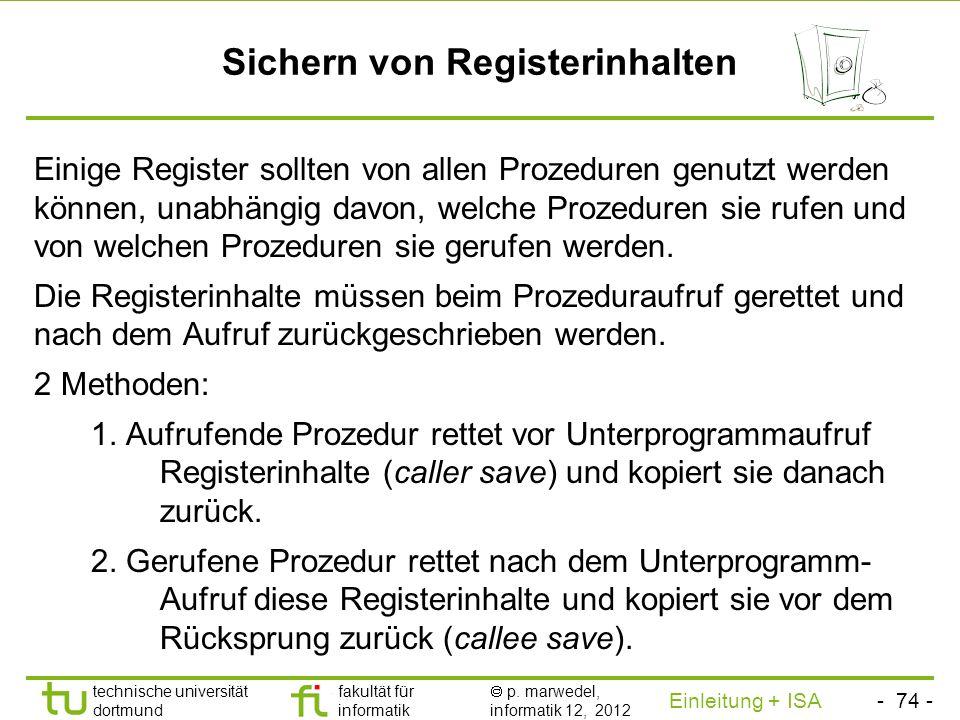 Sichern von Registerinhalten
