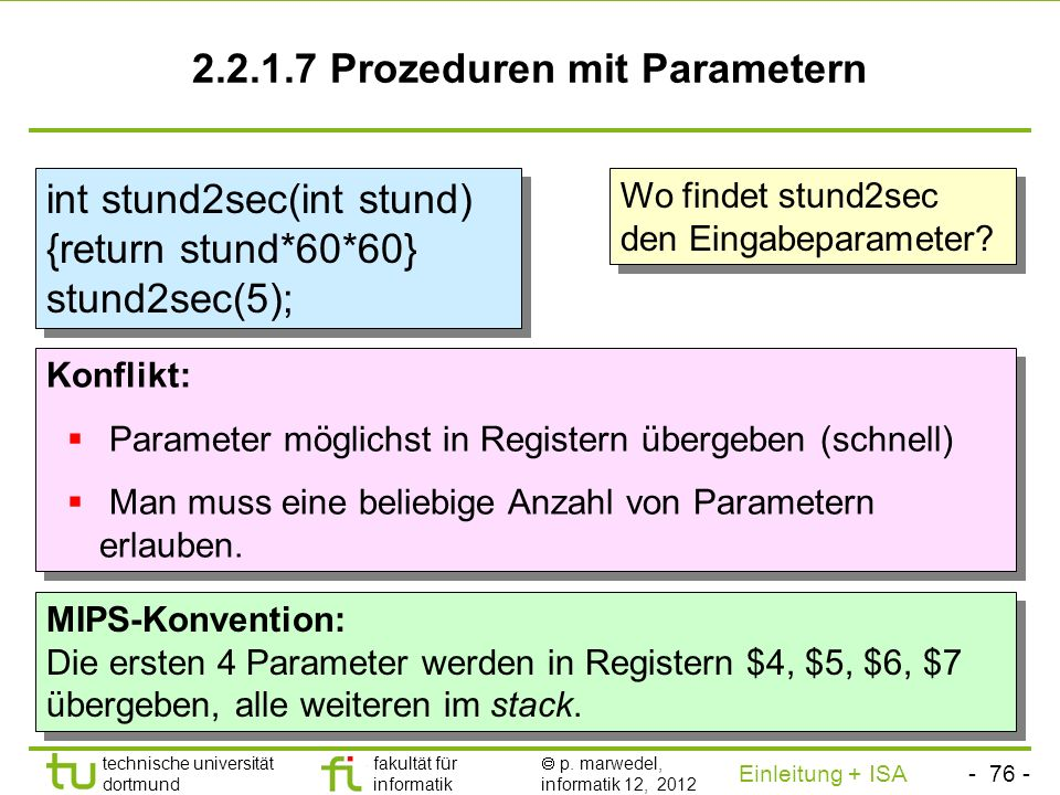 2.2.1.7 Prozeduren mit Parametern