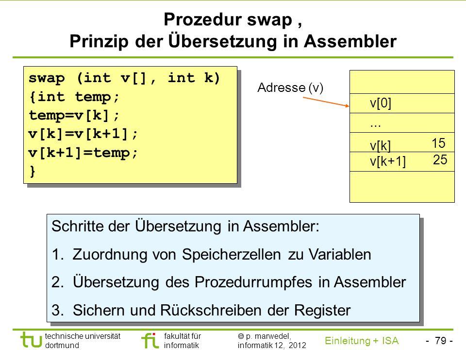 Prozedur swap , Prinzip der Übersetzung in Assembler