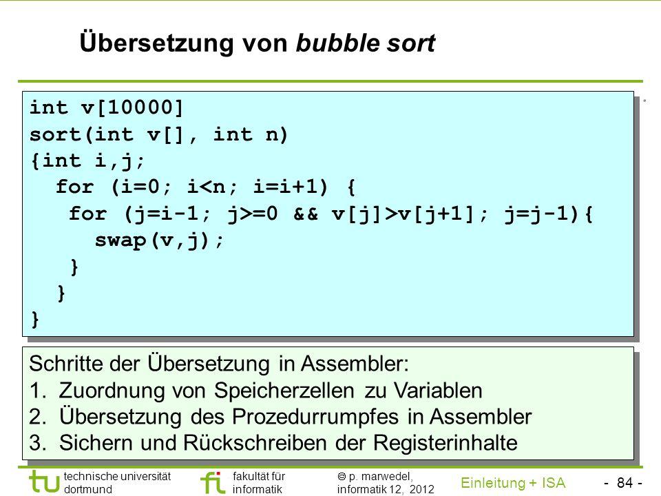 Übersetzung von bubble sort