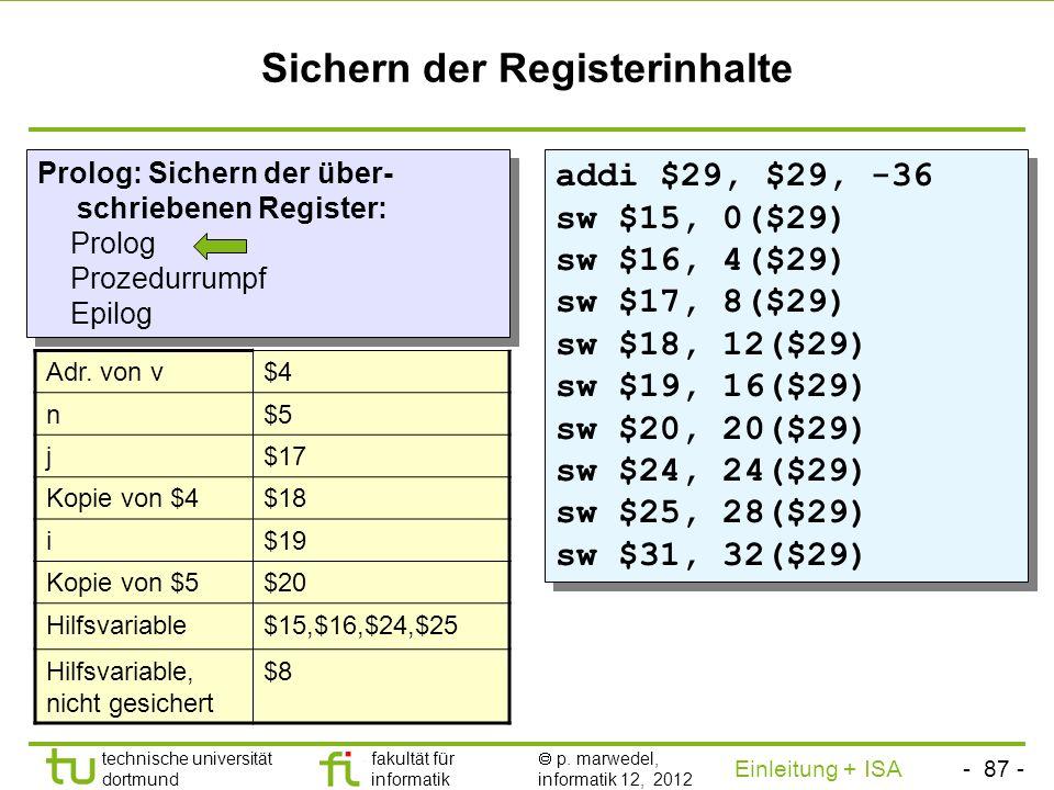 Sichern der Registerinhalte