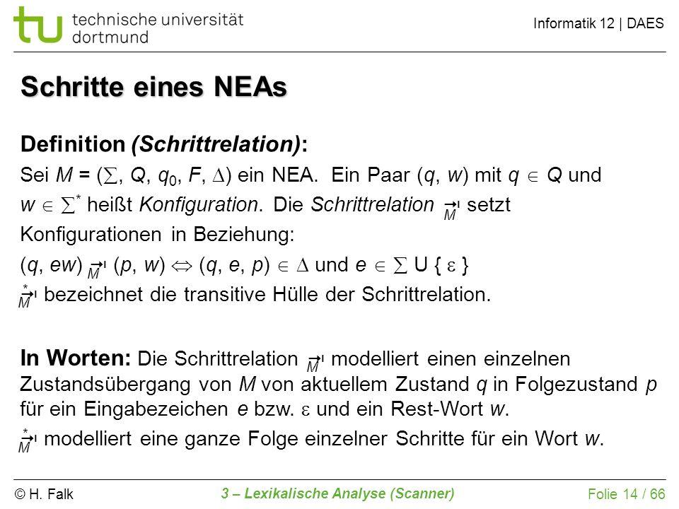 Schritte eines NEAs Definition (Schrittrelation):