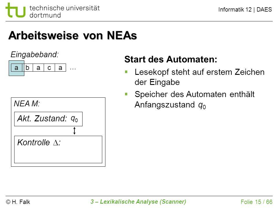 Arbeitsweise von NEAs Start des Automaten: