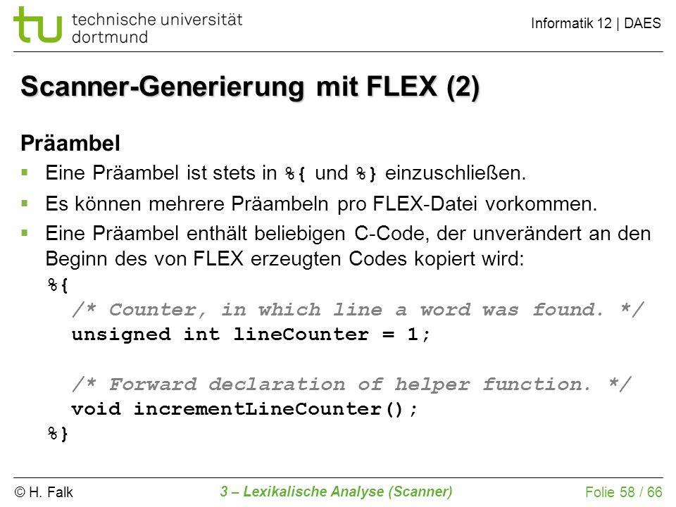 Scanner-Generierung mit FLEX (2)