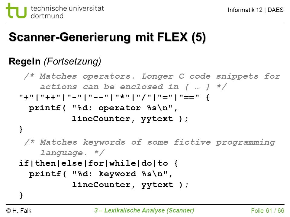 Scanner-Generierung mit FLEX (5)